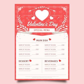 Modèle de menu de la saint-valentin design plat