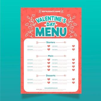Modèle de menu de saint valentin dessiné à la main