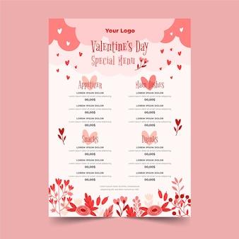Modèle de menu de la saint-valentin dessiné à la main