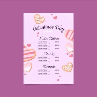 Modèle de menu saint valentin dessiné à la main
