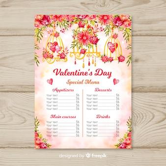 Modèle de menu saint valentin fleur aquarelle