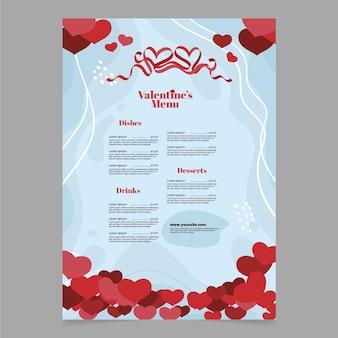 Modèle de menu de saint valentin formes coeur plat