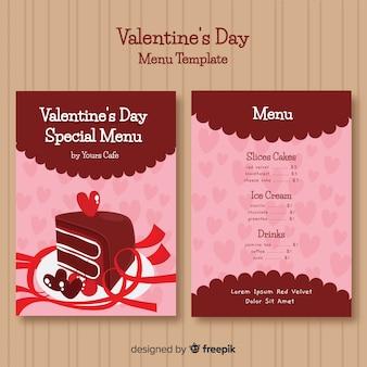 Modèle de menu saint valentin gâteau dessiné à la main