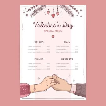 Modèle de menu de la saint-valentin illustration dessinée à la main