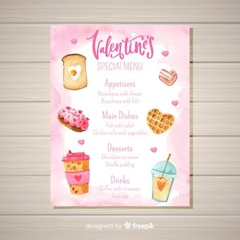 Modèle de menu saint-valentin de nourriture aquarelle