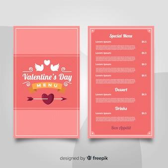 Modèle de menu saint valentin oiseaux plats