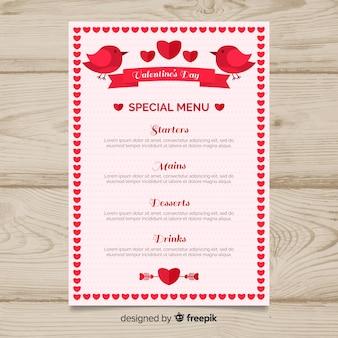 Modèle de menu saint-valentin oiseaux et ruban