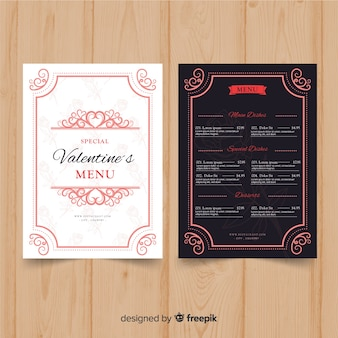 Modèle de menu de saint valentin ornemental