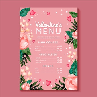 Modèle de menu de la saint-valentin peint à l'aquarelle
