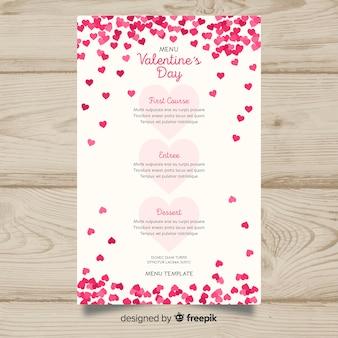 Modèle de menu saint valentin petits coeurs