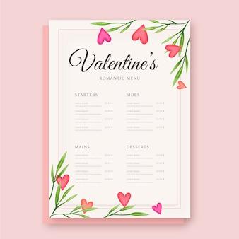 Modèle de menu de la saint-valentin avec plante