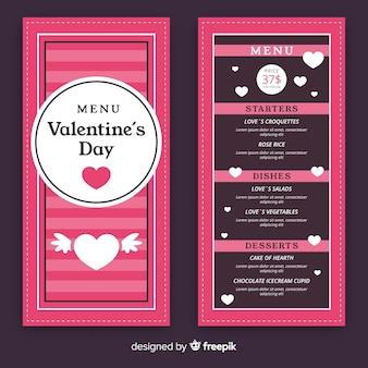 Modèle de menu de la saint-valentin rayé