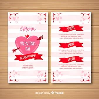 Modèle de menu saint-valentin rayures