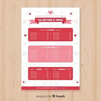 Modèle de menu saint valentin ruban plat