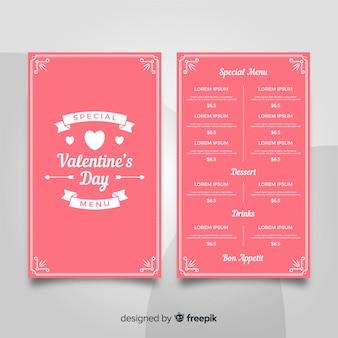 Modèle de menu saint valentin de rubans plats