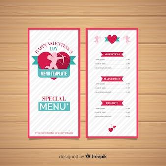 Modèle de menu saint valentin silhouette cupidon