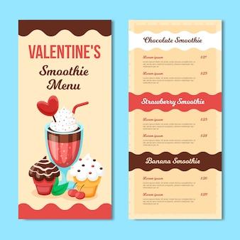 Modèle de menu de la saint-valentin avec smoothie