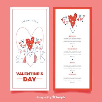 Modèle de menu saint valentin souris dessinés à la main