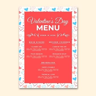 Modèle de menu de la saint-valentin style dessiné à la main
