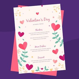 Modèle de menu de la saint-valentin de style dessiné à la main