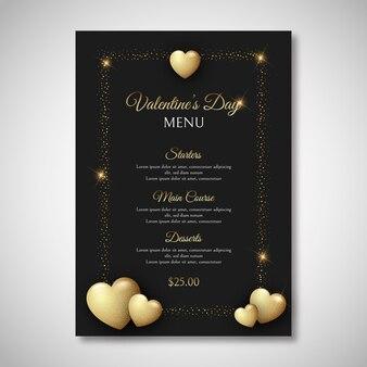 Modèle de menu de la saint-valentin de style réaliste