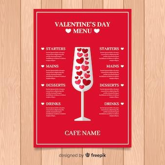 Modèle de menu saint valentin en verre plat
