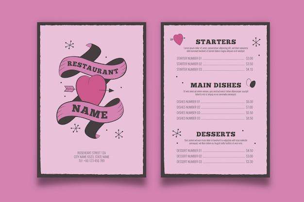 Modèle de menu saint valentin vintage