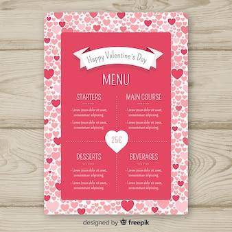 Modèle de menu de la saint-valentin