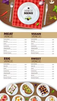 Modèle de menu sandwichs