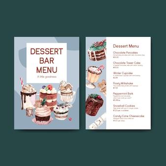 Modèle de menu serti de bonbons d'hiver dans un style aquarelle
