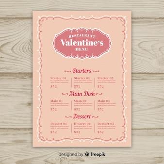 Modèle de menu simple saint valentin ornement