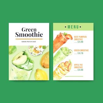 Modèle de menu avec des smoothies aux fruits