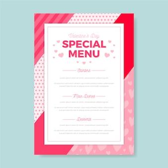 Modèle de menu spécial saint valentin