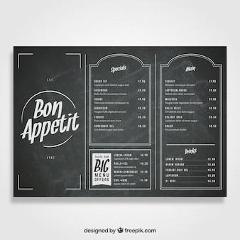 Modèle de menu de style tableau noir pour un restaurant