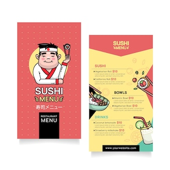 Modèle de menu de sushi vertical