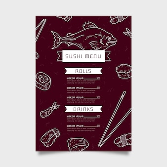 Modèle de menu de sushi