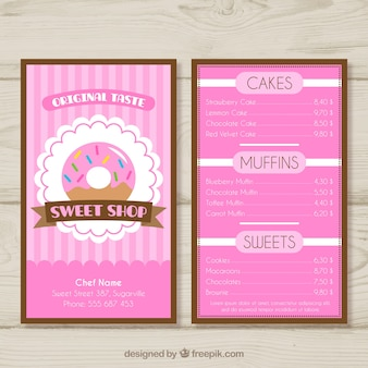 Modèle de menu sweet shop
