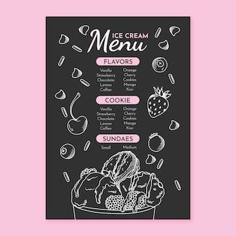 Modèle de menu de tableau de crème glacée dessiné à la main