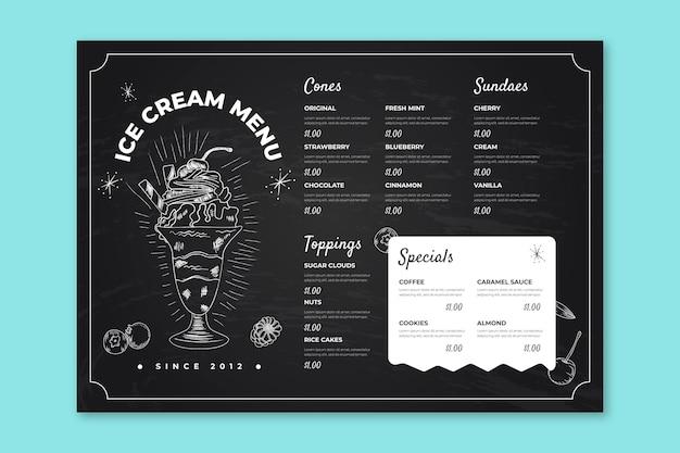 Modèle de menu de tableau noir de crème glacée dessiné à la main de gravure