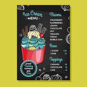 Modèle de menu de tableau noir de crème glacée dessiné à la main