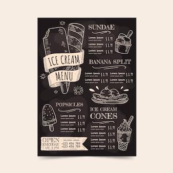 Modèle de menu de tableau noir de crème glacée dessinée à la main de gravure
