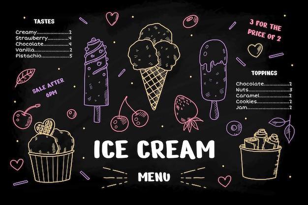 Modèle de menu de tableau noir de crème glacée savoureuse