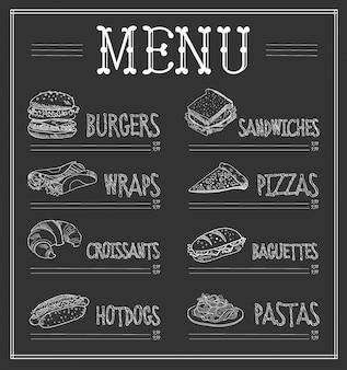 Modèle de menu de tableau noir