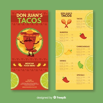 Modèle de menu de taco don juan