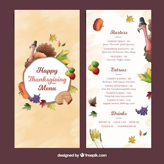 Modèle de menu de thanksgiving avec dinde