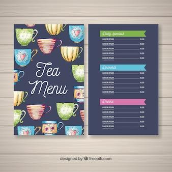 Modèle de menu de thé aquarelle