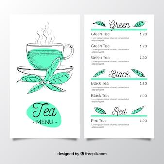 Modèle de menu de thé au salon de thé