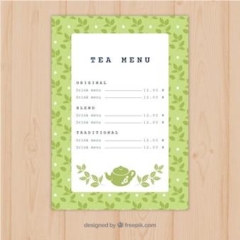 Modèle de menu de thé avec des boissons