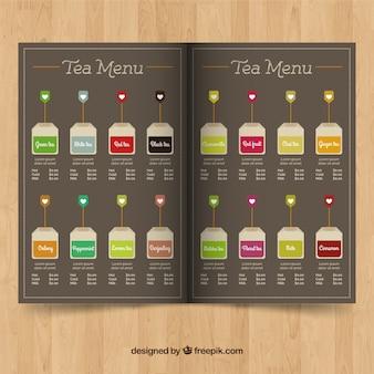 Modèle de menu de thé dans un style plat