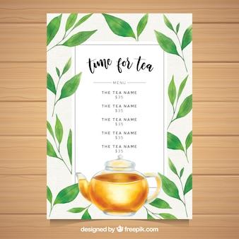 Modèle de menu de thé dans un style réaliste